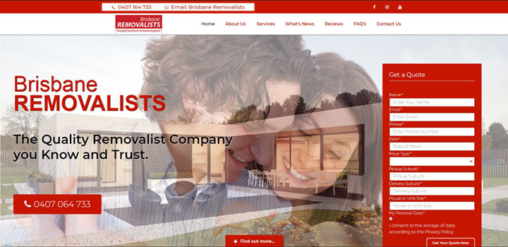 Brisbane Removalists Homepage Screenshot